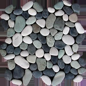 White black green pebbles