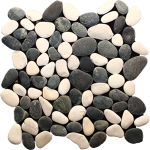 black and white pebble mosaic