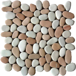 beige and pink pebble tile