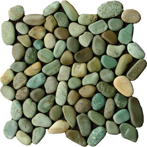 green pebble tiles