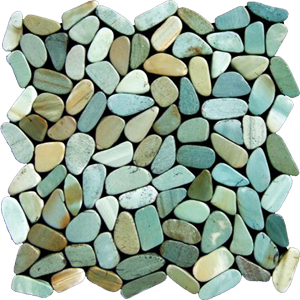 green slice pebble tiles