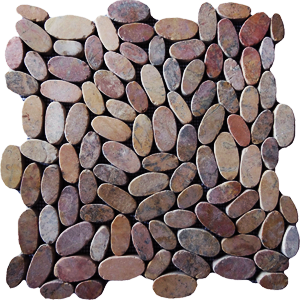 sliced flat pebble tiles