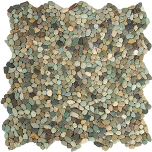 mini green pebble tiles