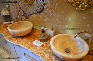 Yellow Onyx sink vessel - onyx wash basin
