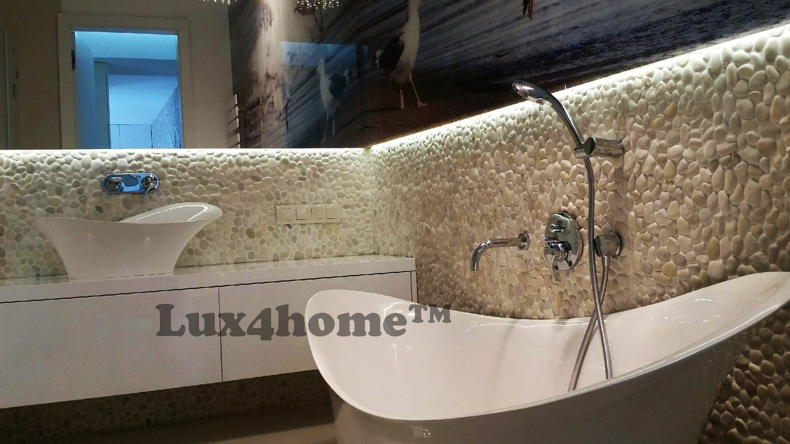 White Pebble Mosaics Ideas
