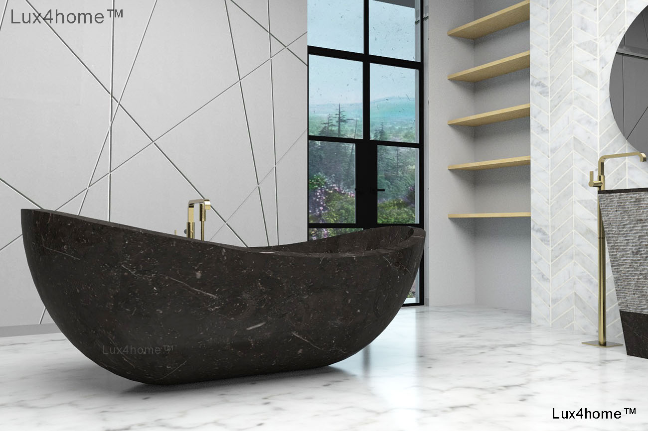 Black Stone Marble Bathtub - Gratnie Bathtubs