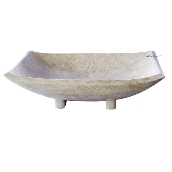 Stone vessel sink bathroom