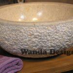 Beige marble sink - Marble vanity sink