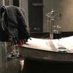 Black Stone Sink - bark bathroom ideas