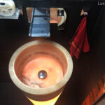 Illuminated onyx wash basins