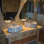 Petrified wood stone basins
