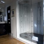 Black Pebble Tile bathroom interior