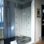 Black pebble shower floor