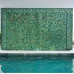Green pebble wall ideas- pebble tile on wall