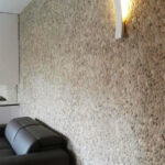 Beige Pebble Tile Wall - stone pebble mosaic