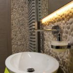 Beige Pebble Wall Bathroom