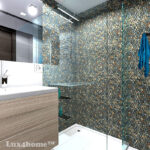 Mixed Pebble Tile Shower - Mix color pebble