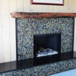 Mixed Pebble Tile fireplace ideas