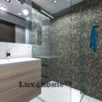 Pebble shower wall - pebble mosaic bathroom
