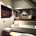 Stone pebble bathtub - pebble tile bathroom ideas
