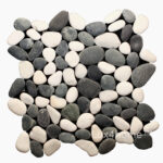 White - Black Pebble Tiles - Pebble Mosaic