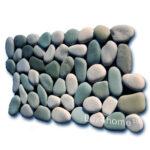 White - Green Pebble Tiles - Pebble Mosaic