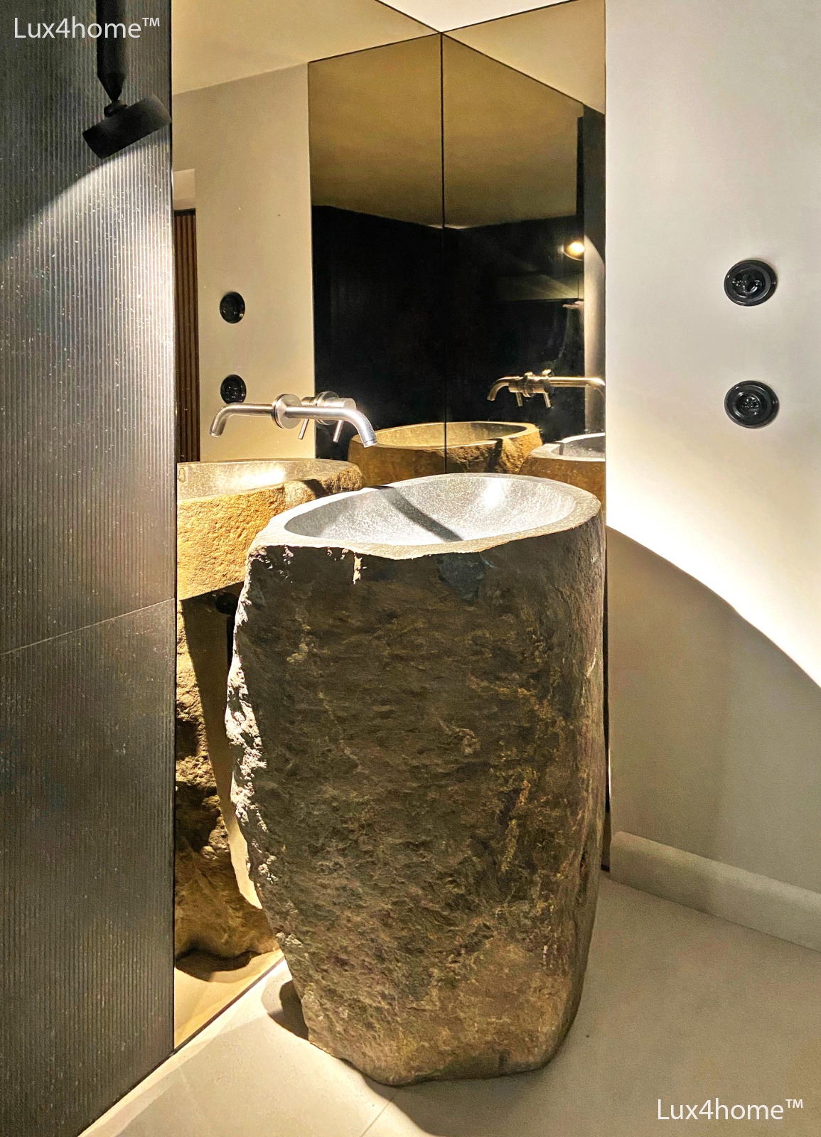 matching stone sinks and stone bathtubs