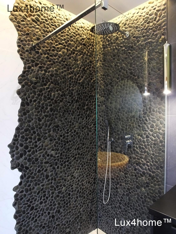 Black Sumatra Black Pebble Tiles Mosaic Lux4home Com