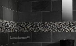 Black Pebble Tile Borders Bathroom  Decor