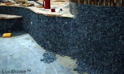 Black pebble pool - pebble tiles instalation