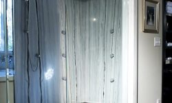 Black pebble shower floor