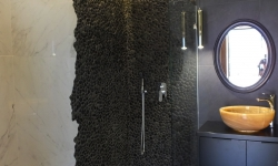 Black Pebble Tile Shower Ideas - Black Pebble Tile wall