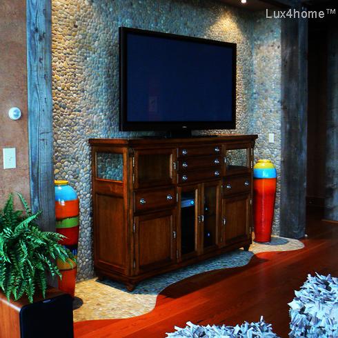 Color Pebble Tile Wall - Pebble Wall TV