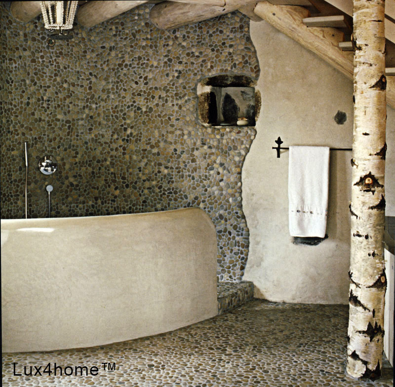 Grey Pebble Tiles - natural bathroom