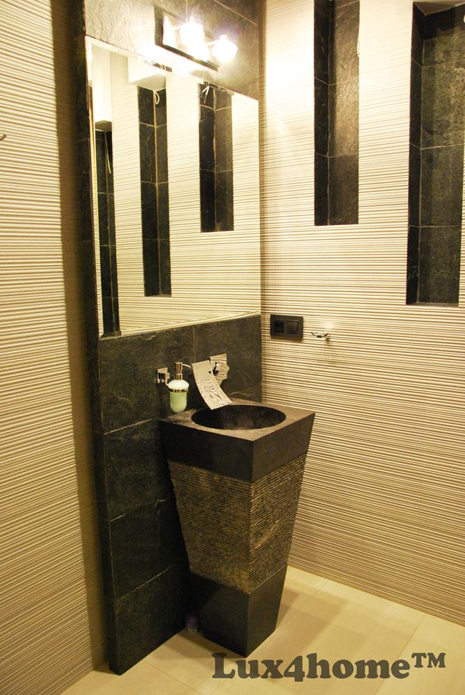 Marble Black Pedestal Sink Freestanding Marble Sinks