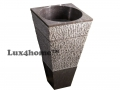 black marble pedestal sink
