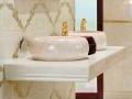 Cream Marble vessel sink - Round Stone wash basin