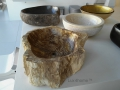 Natural petrified wood vessel sinks