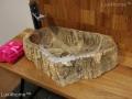 Petrified wood vessel sink - wash basin