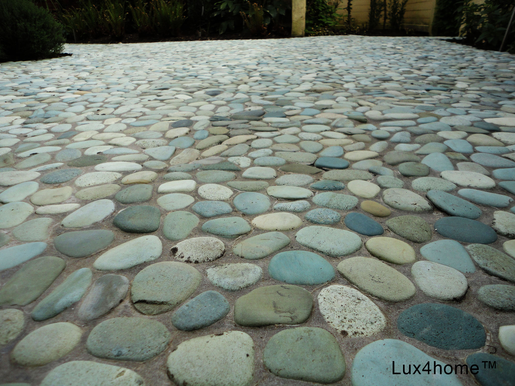 green pebble tiles