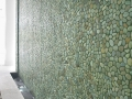 Green pebble wall ideas- pebble tile on wall