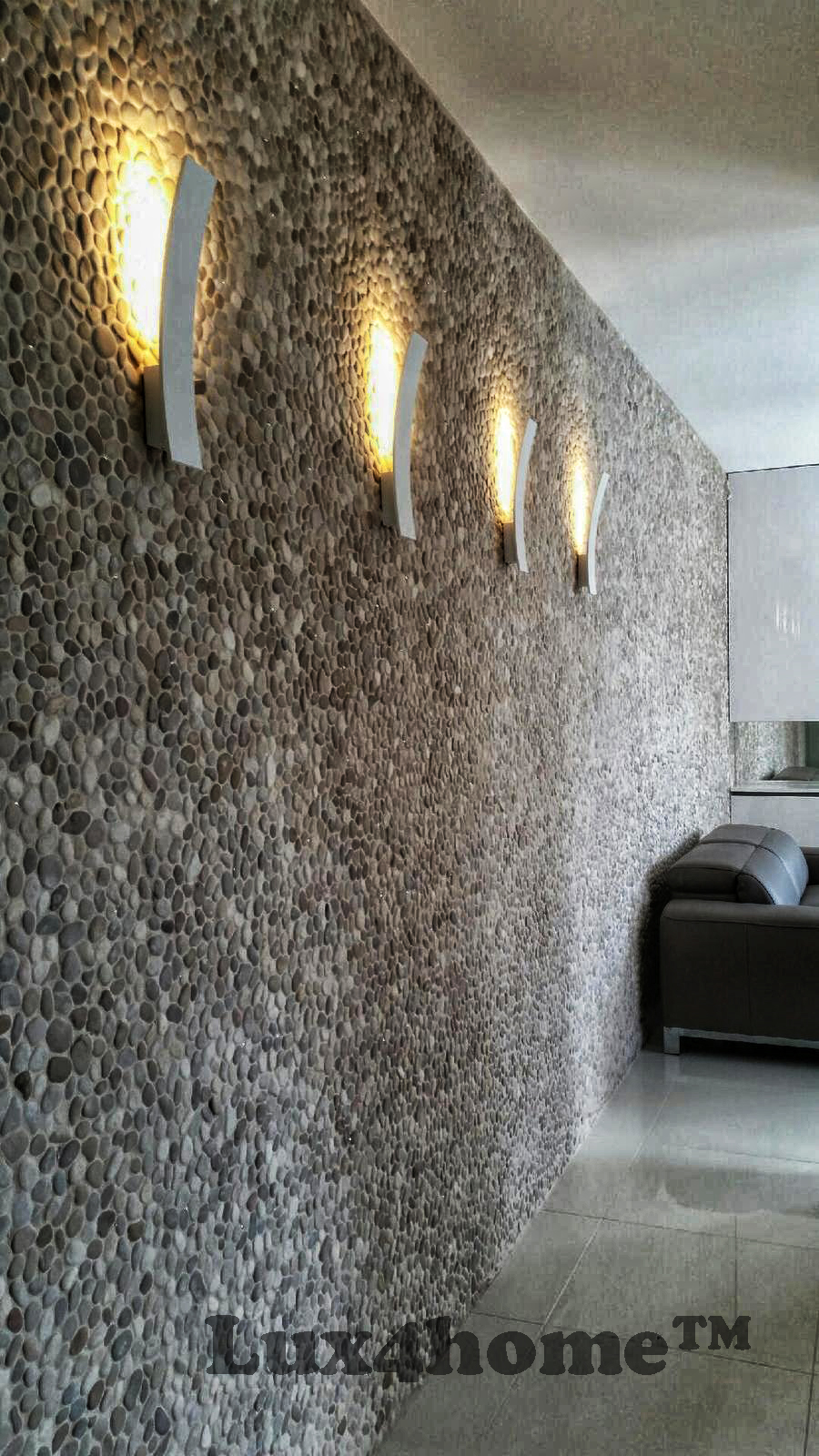 Luxury Apartment With Pebble Tiles On Walls Beige Pebble