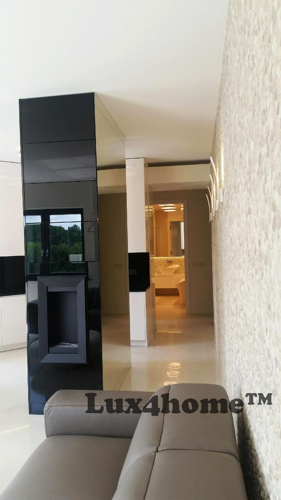Luxury Apartment With Pebble Tiles On Walls Beige Pebble