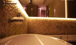 bathroom pebble tile ideas - Beige Pebble wall
