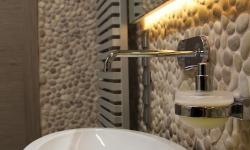 Beige pebble tiles supplier - Pebble Stone Wall