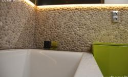 bathroom pebble tile ideas - Beige Pebble wall