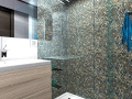 Mixed Pebble Tile Shower - Mix color pebble