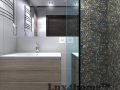 Pebble shower wall - pebble mosaic bathroom