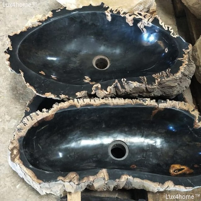Petrified Wood Stone Sinks - Black