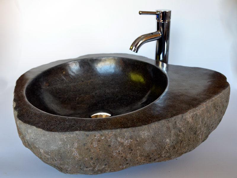 River stone sinks sliced